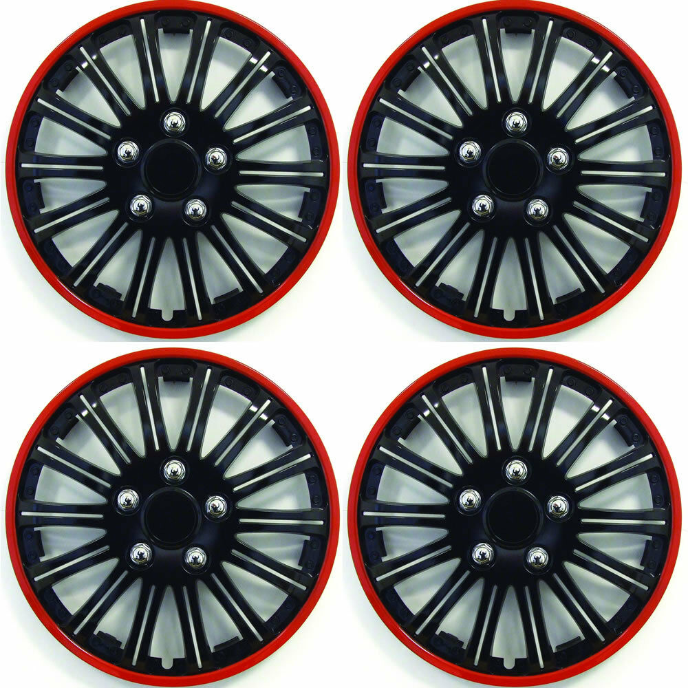 Set Of 4 X 15 Inch Red And Black Sports Wheel Trims Cover