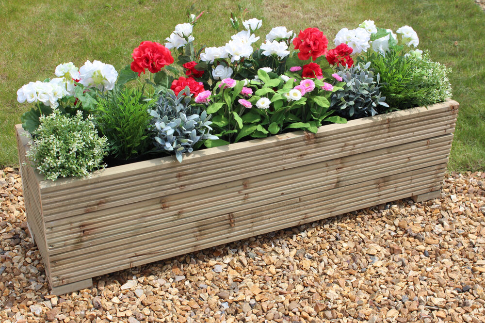 LARGE WOODEN GARDEN PLANTER TROUGH 120cm LENGTH **FREE ...
