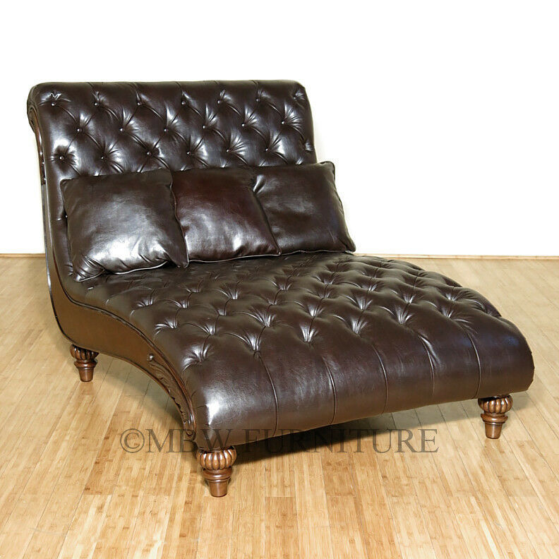 Latte tufted bycast leather double chaise lounge ebay for Chaise leather lounge