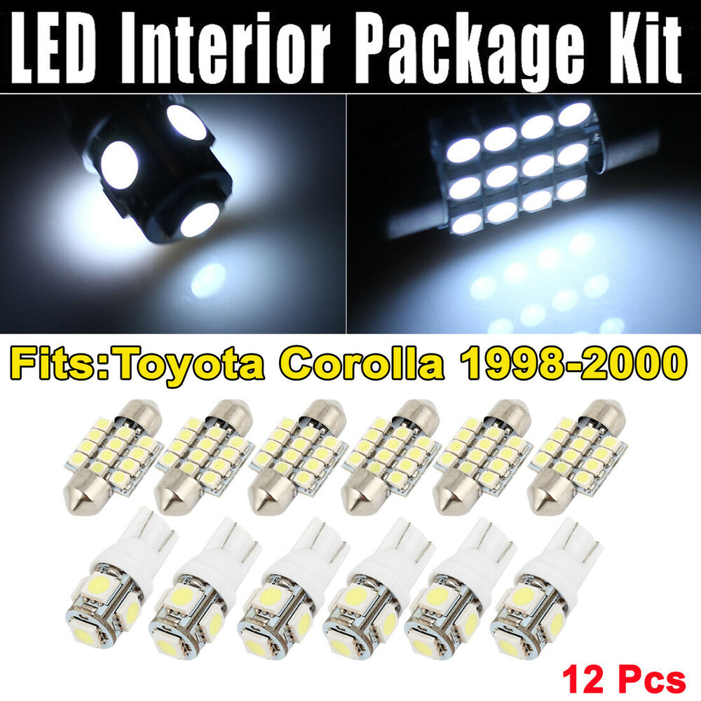 10x Blue Interior Led Lights Replacement Package Kit Fit: 12 Pcs Dome White LED Lights Interior Package Kit For