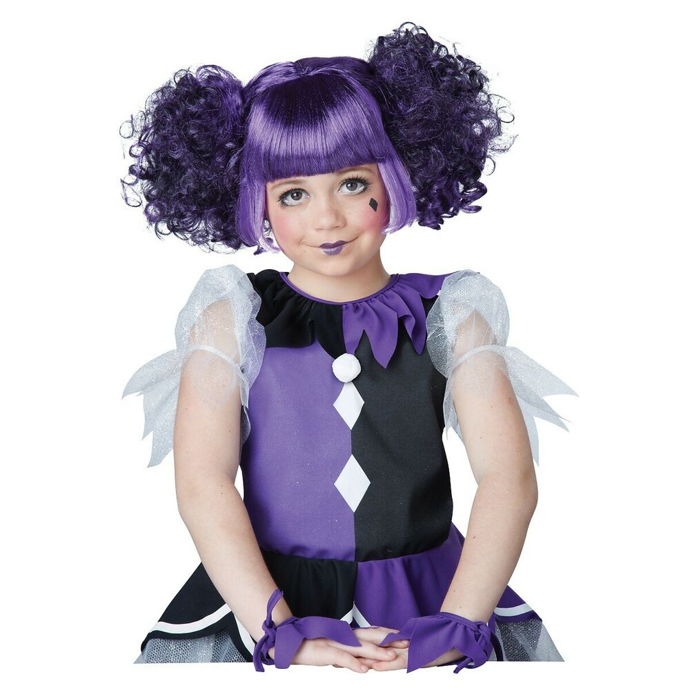gothic dolly wig kids purple harlequin doll jester