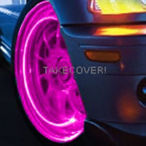 Pink Magenta Led Tyre Lights Tire Wheel Valve Stem Cap