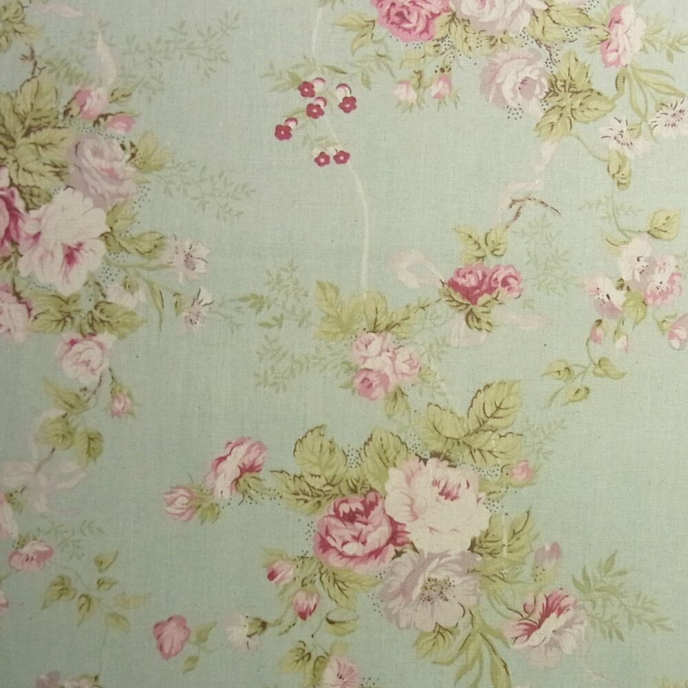 vintage style linen blend fabric rose flowers shabby chic mint green home deco ebay. Black Bedroom Furniture Sets. Home Design Ideas