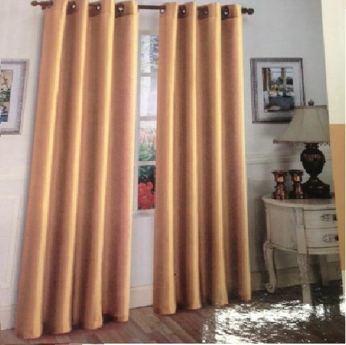 1 Panels Blackout Gold Grommet Silk Window Curtain New