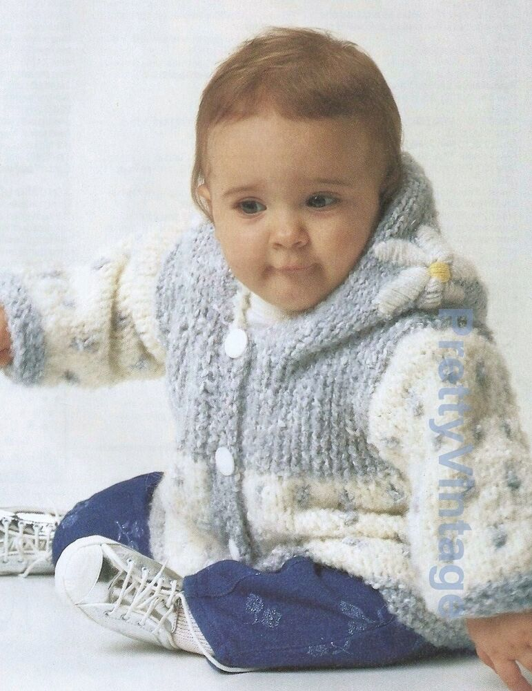 VINTAGE BABY KNITTING PATTERN DK HOODED JACKET 20-24