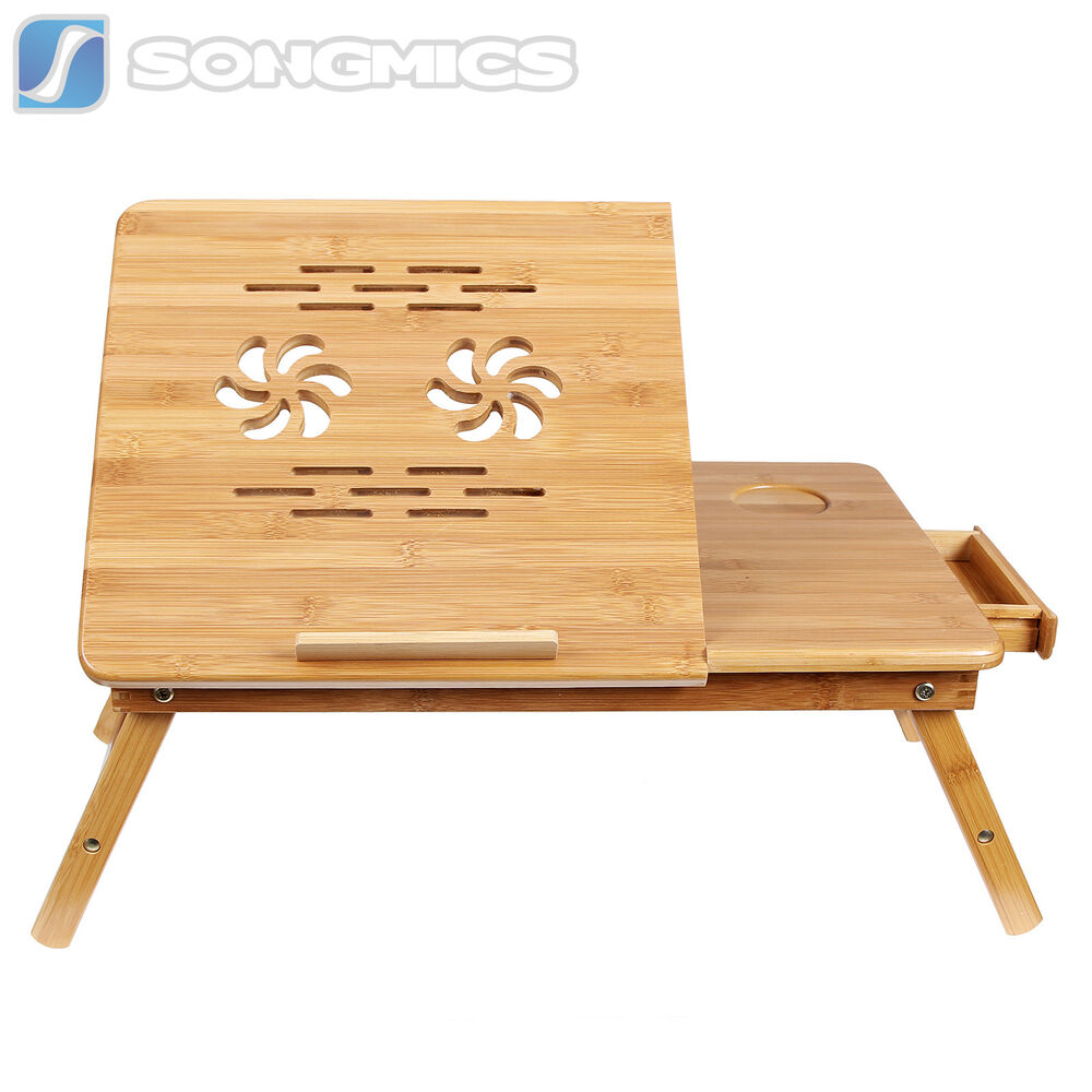 Songmics Bamboo Portable Laptop Desk Folding Breakfast Bed Serving