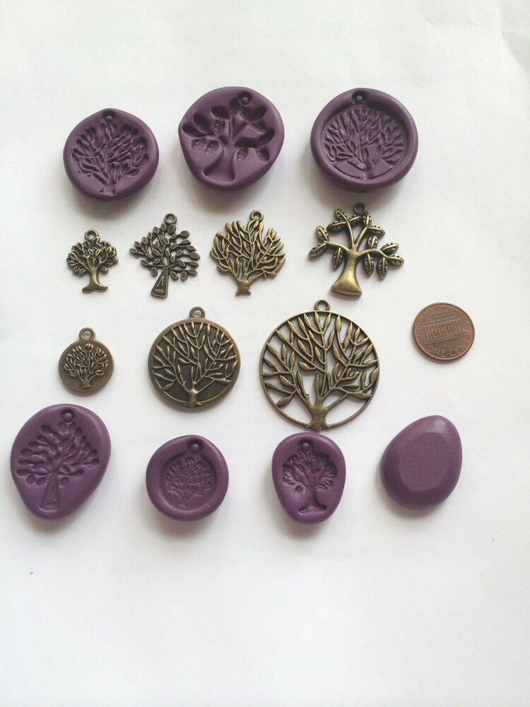 Tree Jewelry charms Flexible Push Molds for Polymer Clay ...