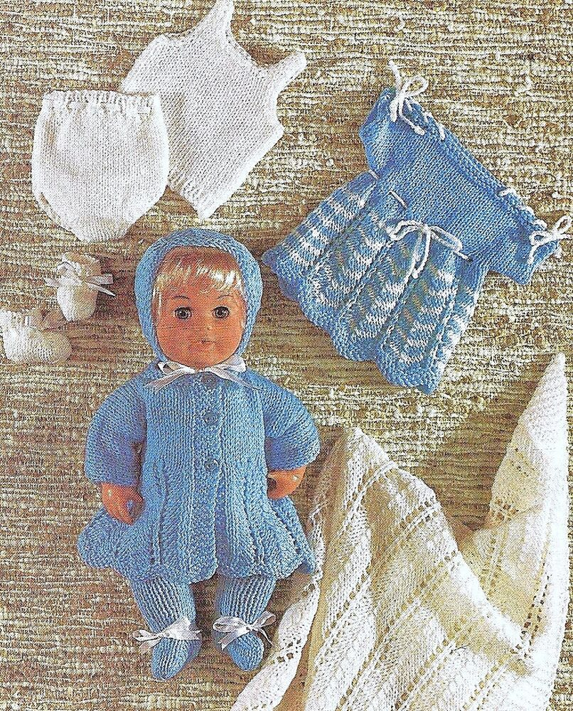 """KNITTING PATTERN BABY DOLLS CLOTHES 12""""-16"""" DK or 4 ply ..."""