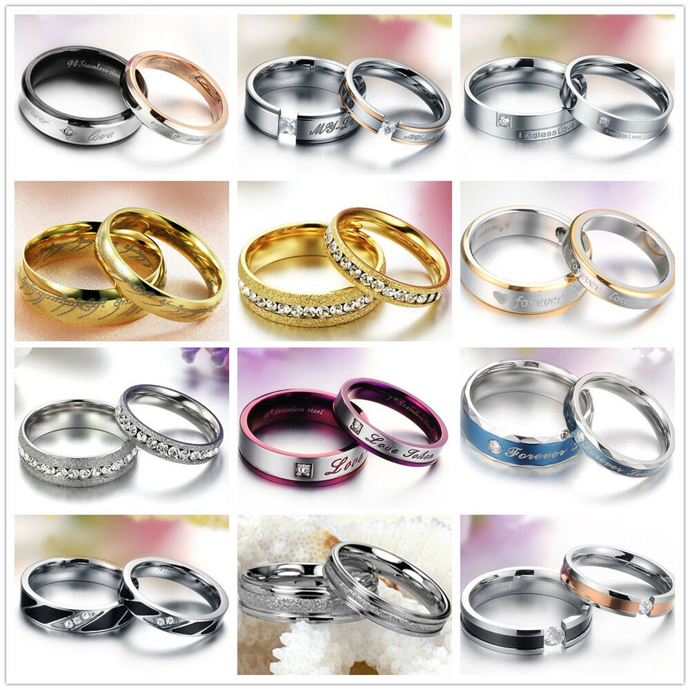 Matching Bands: Wedding Couple Rings Stainless Steel Ring Engagement Love