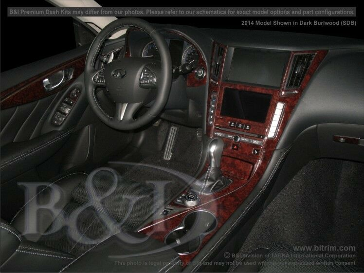 infiniti q50 wood grain dash kit fits 2014 2015 36 pieces ebay. Black Bedroom Furniture Sets. Home Design Ideas