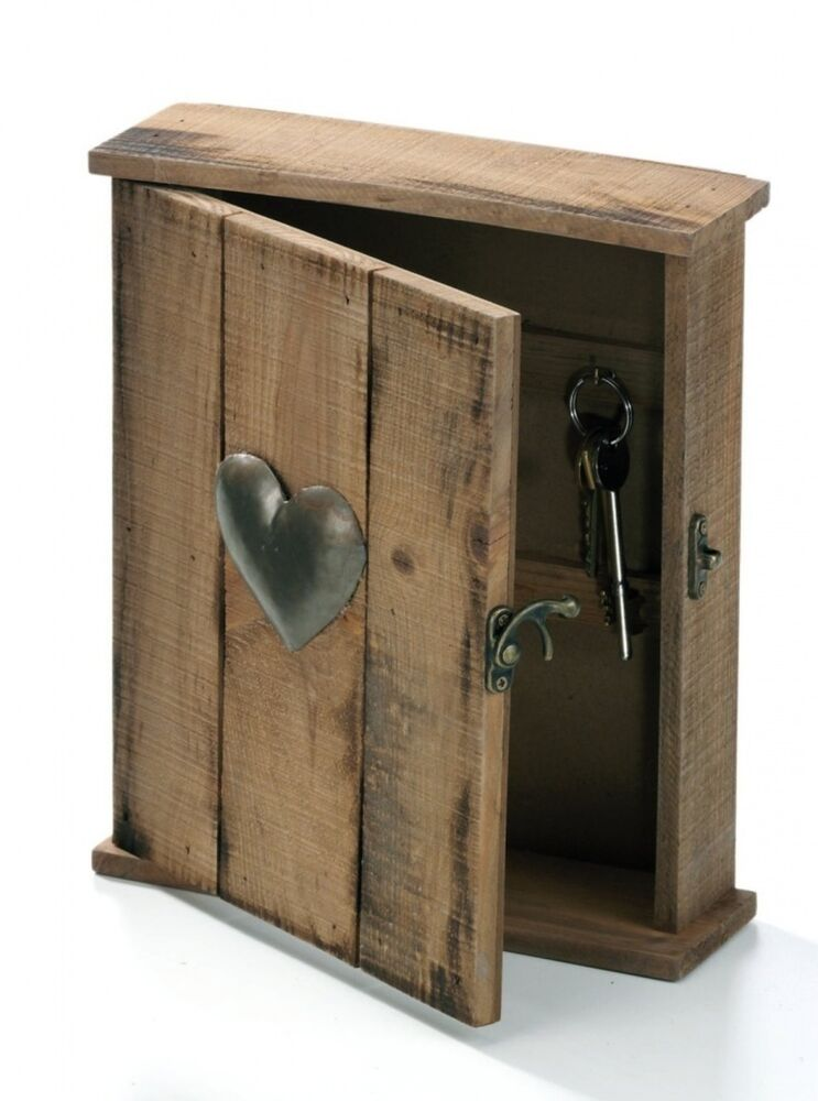 Shabby wooden chic rustic key rack hooks cupboard box with
