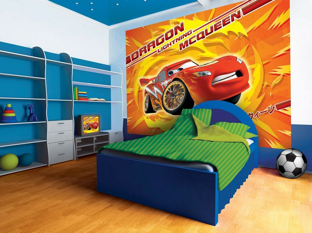 Giant wall mural photo wallpaper for boy 39 s room cars 2 for Disney cars mural uk