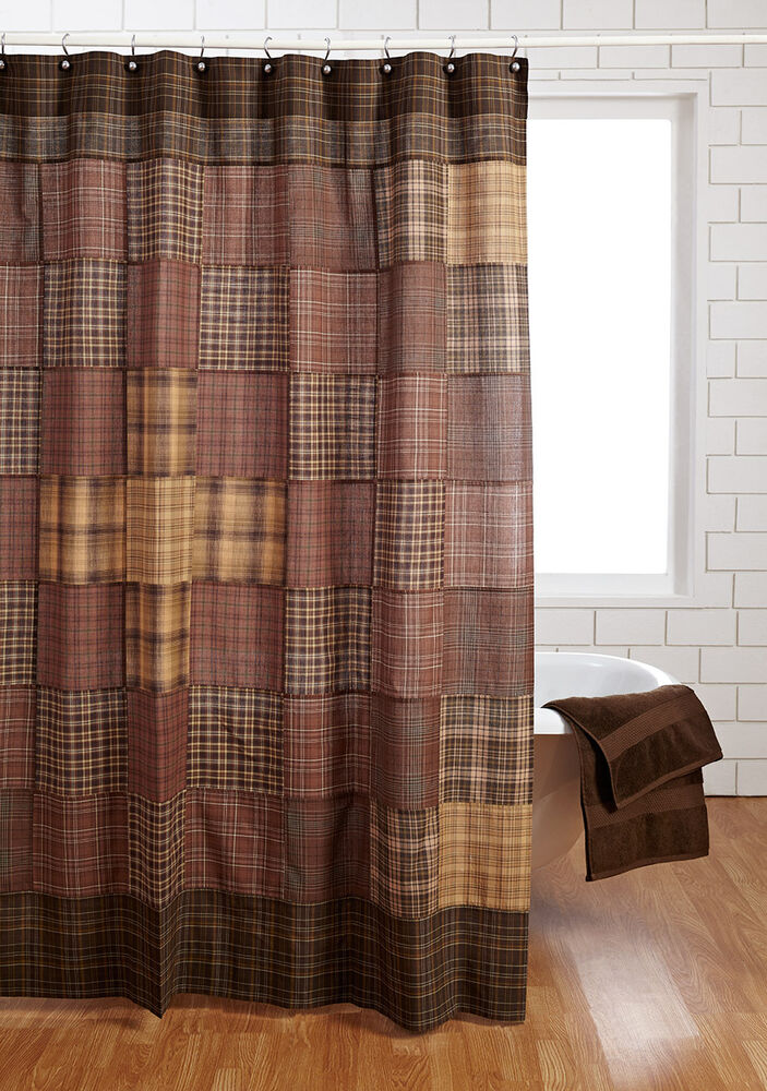 Prescott Shower Curtain Tan Brown Primitice Patchwork