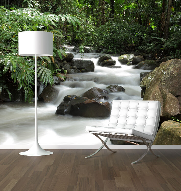 Waterfall In The Forest Photo Wallpaper Mural Feature Wall