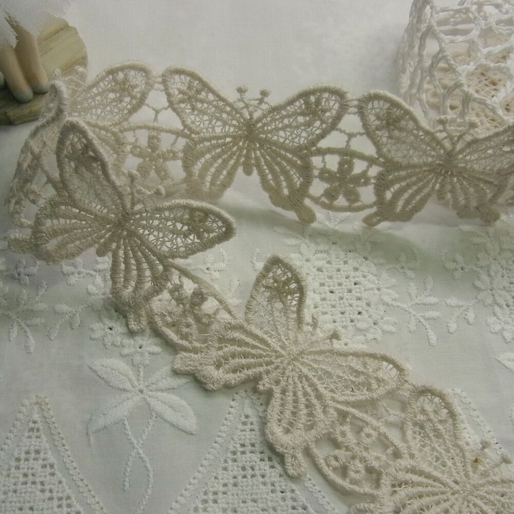 1yard Embroidery Cotton Fabric Crochet Lace Trim Butterfly Flower Ivory 5cm Wide | EBay
