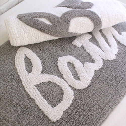 24x16 Gray White Rug Shower Mat Bath Rug Cotton Bath Mat Bathroom Rug Modern Ebay