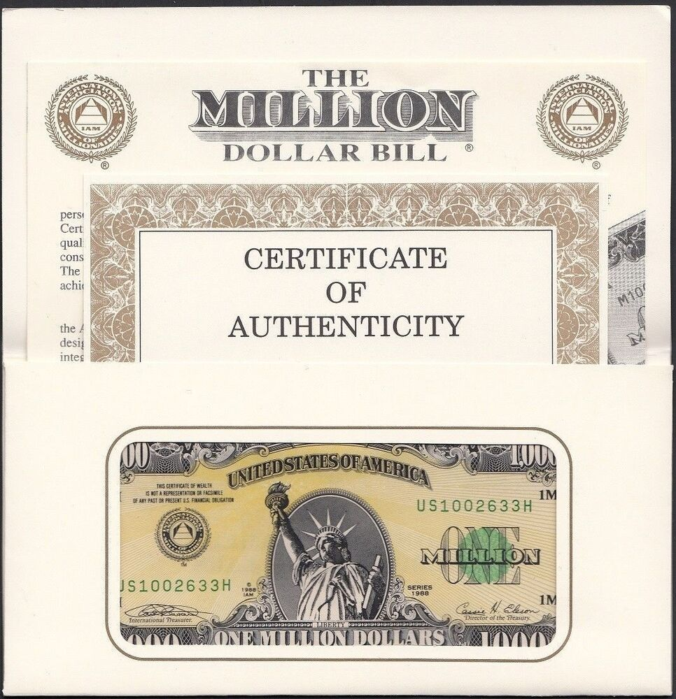Authentic I.A.M. One 1 Million United States U.S.A (USA) Dollars ...