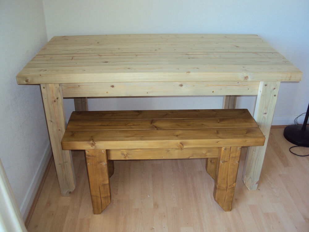 Wooden Quality Handmade Garden Kitchen Dining Table And 2
