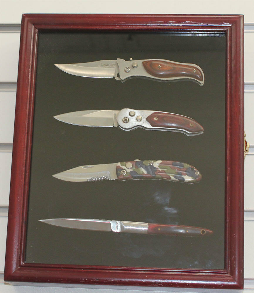 Knife Display Case Shadow Box Wall Mount Glass Door