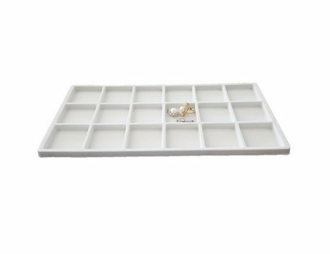white flocked 18 compartment jewelry display tray insert