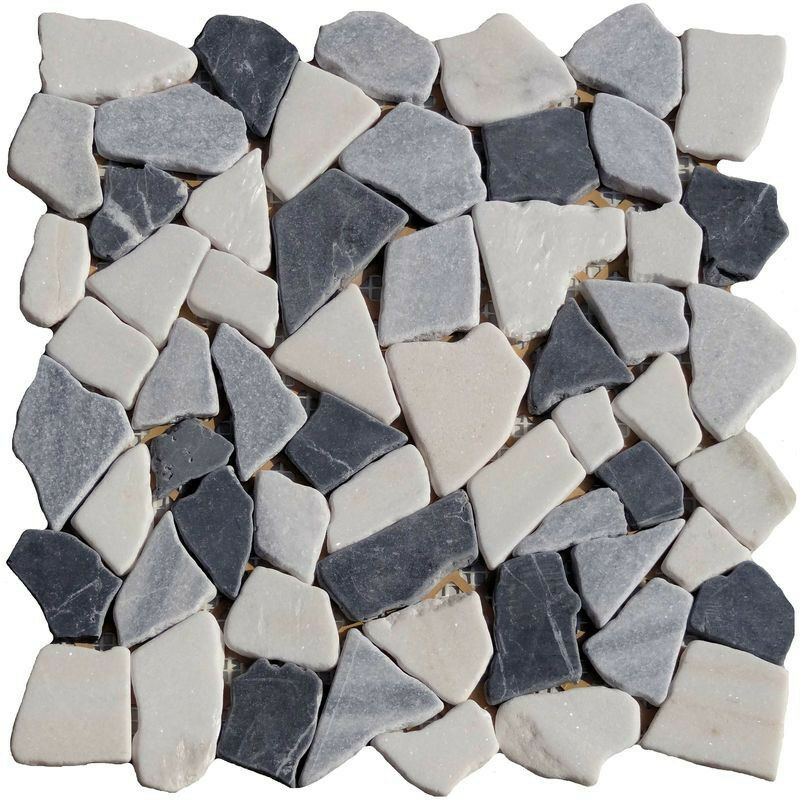 bruchmosaik schwarz grau weiss mix marmor granit naturstein fliesen glasmosaik ebay. Black Bedroom Furniture Sets. Home Design Ideas