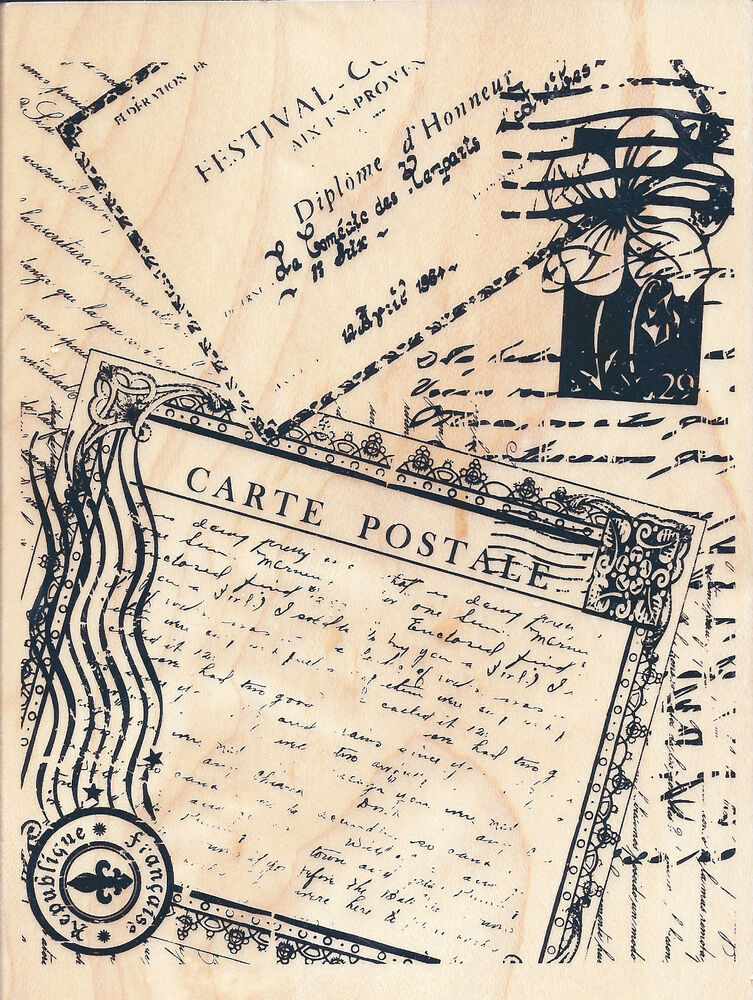 carte postale post card collage recollections w m rubber stamp free shipping ebay. Black Bedroom Furniture Sets. Home Design Ideas