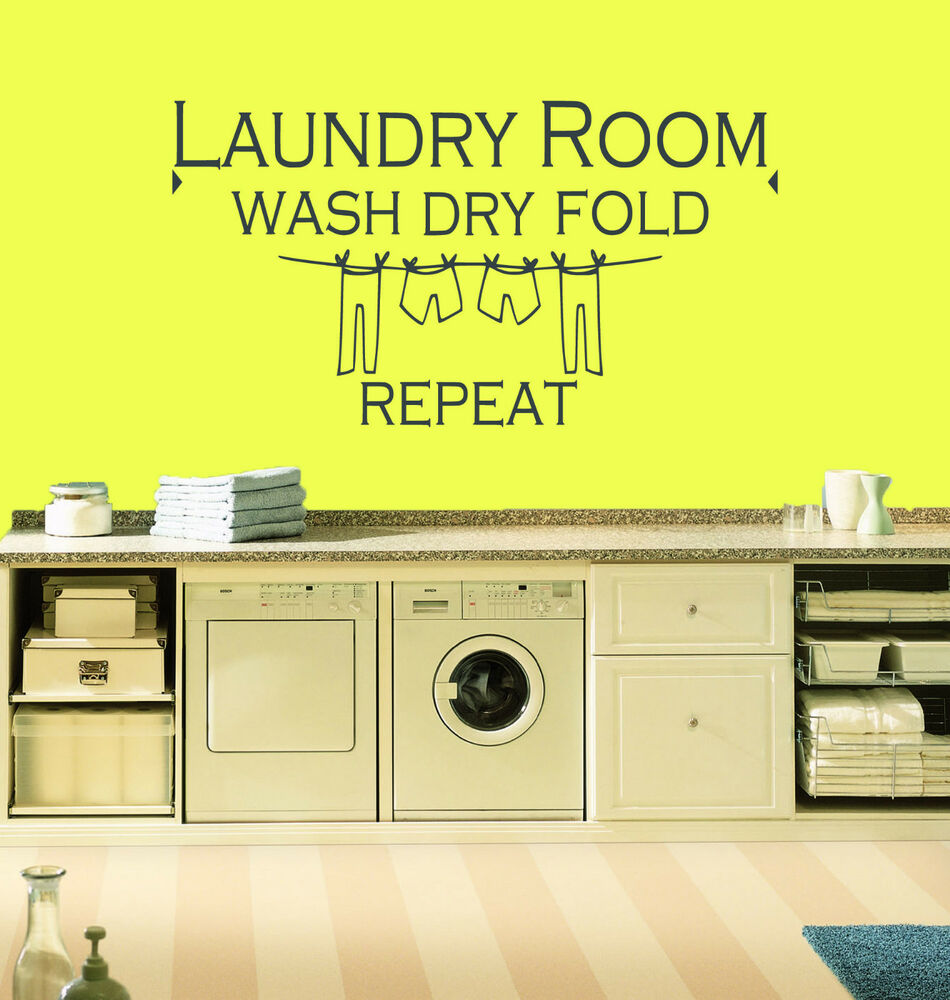Laundry Room Wash Dry Fold Repeat...Quote Vinyl Wall Art Sticker ...