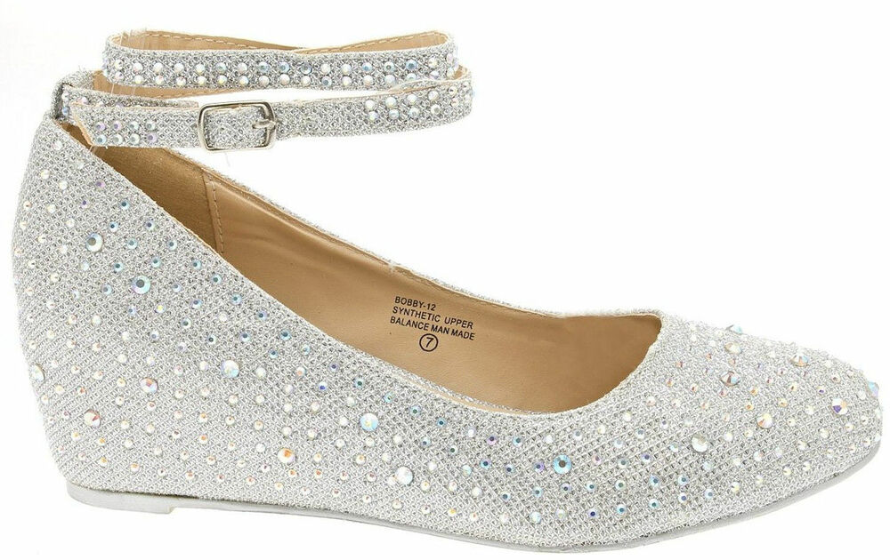 aef7254844e Rhinestone Crystal Ankle Strap Med Low Wedge Heel Ballet Flat Women s Pump