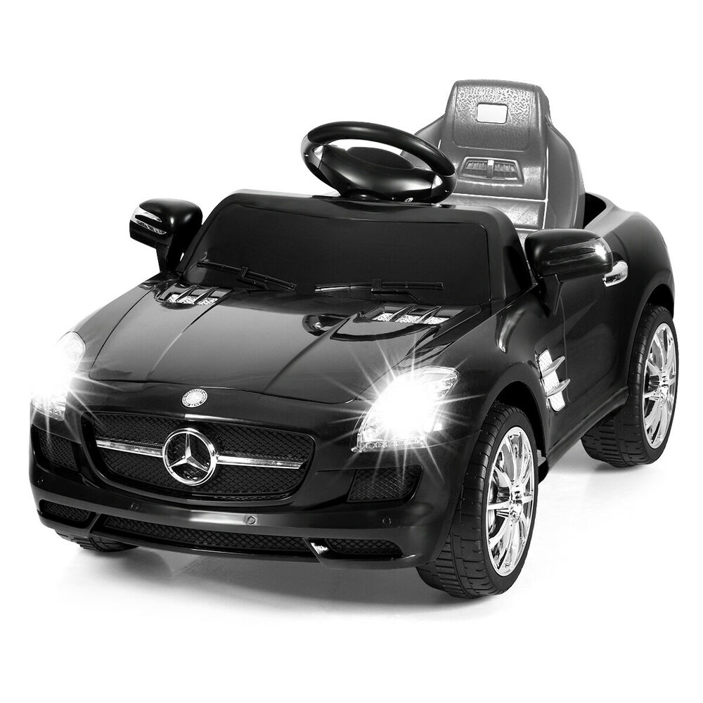 New black mercedes benz sls r c mp3 kids ride on car for Mercedes benz toddler car