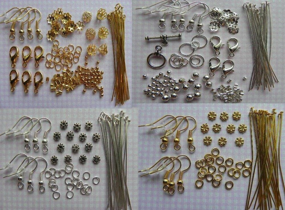 Lot making jewelry necklace earring bracelet kit for Earring supplies for jewelry making