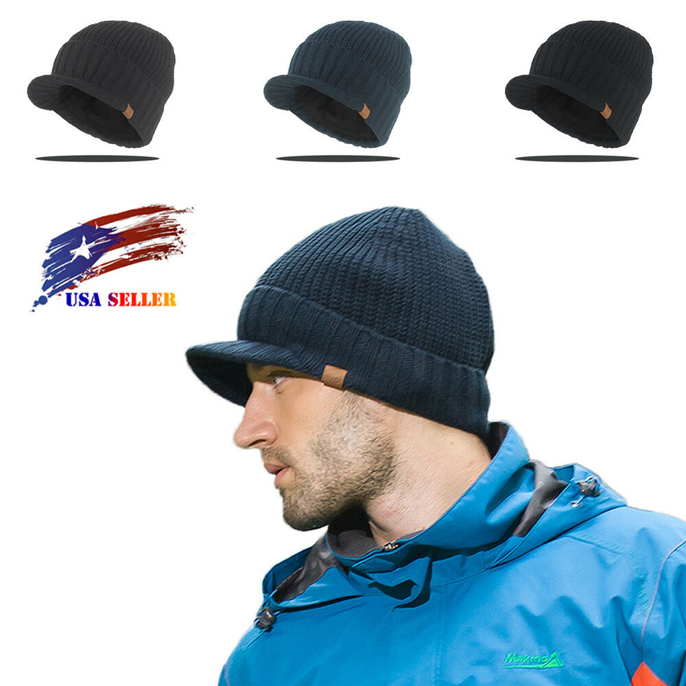 Winter Solid Wool Visor Beanie Knit Billed Hat Fur lining Knit Ski Brimmed  Cap  f64e95eb0e5