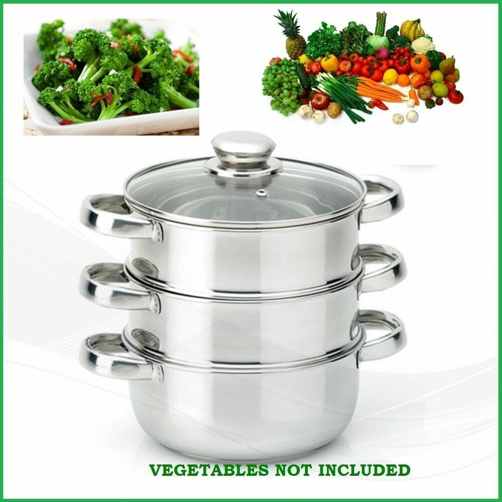 Cooking Pot Steamer ~ Pc cm stainless steel steamer cooker pot set glass lids
