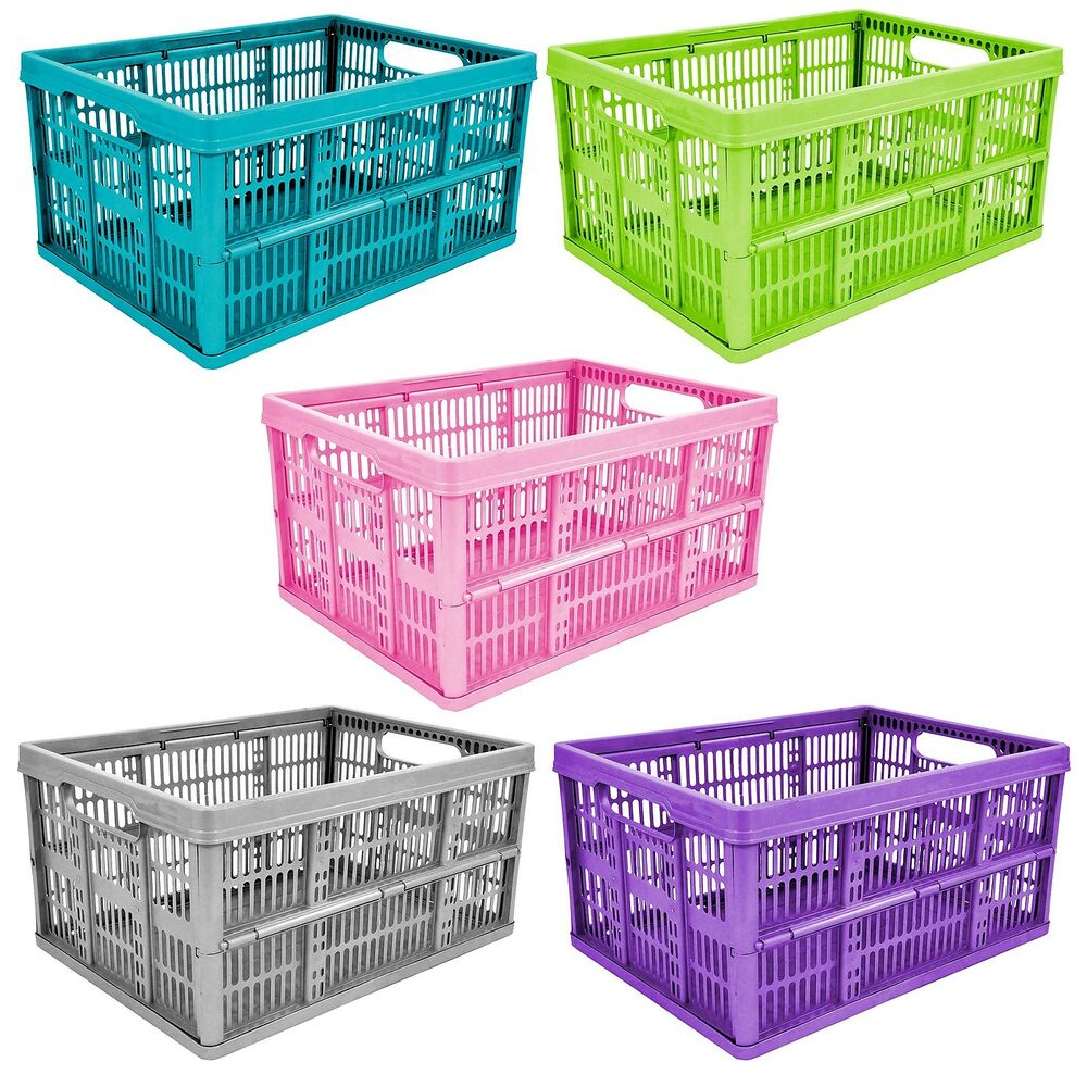 32l plastic folding storage container basket crate box. Black Bedroom Furniture Sets. Home Design Ideas