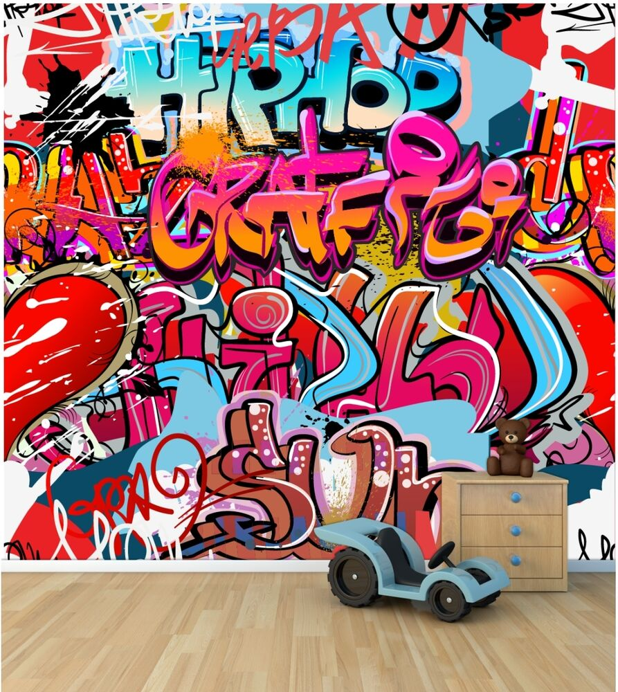 Graffiti wall wallpaper mural style 1 childrens bedroom for Bedroom mural designs