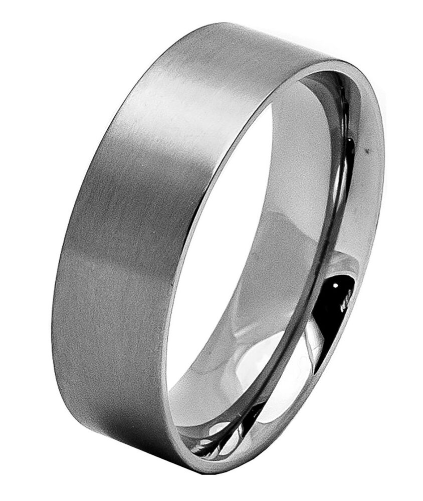 Mens stainless steel flat classic wedding ring band for Mens stainless steel wedding rings