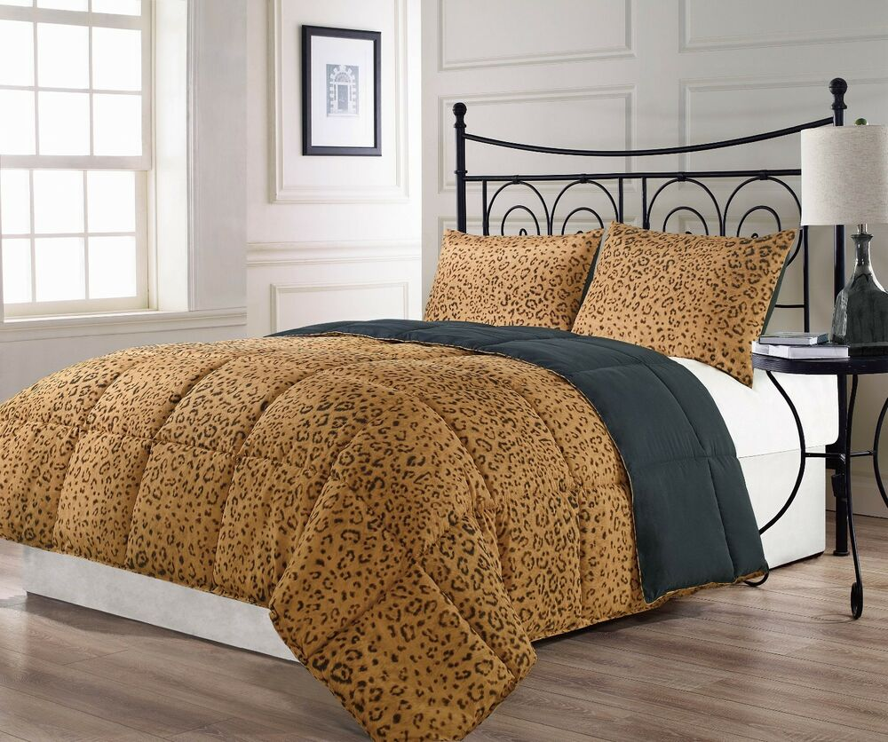 Animalia Reversible Brown Black Leopard Print Comforter