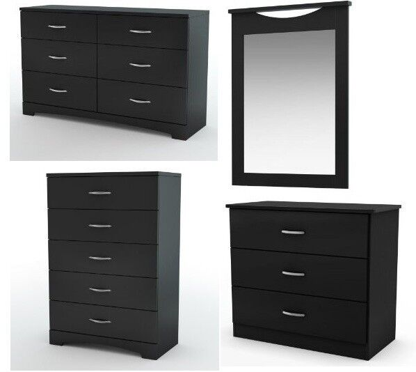 New 4pc Modern Black Dresser Chest Nightstand Amp Mirror