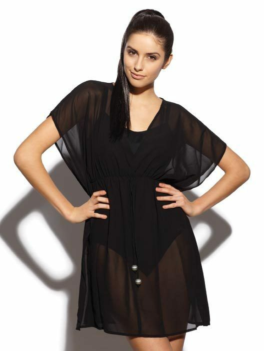 neu mit etikett panache anna schwarz chiffon kaftan bikini strandkleidung up ebay. Black Bedroom Furniture Sets. Home Design Ideas