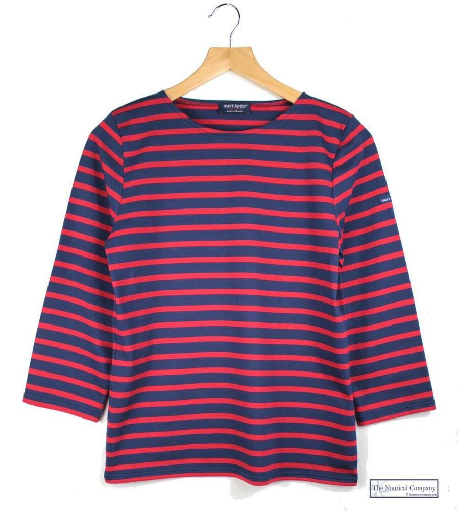 Women saint james breton top ladies navy blue red striped for Red blue striped shirt