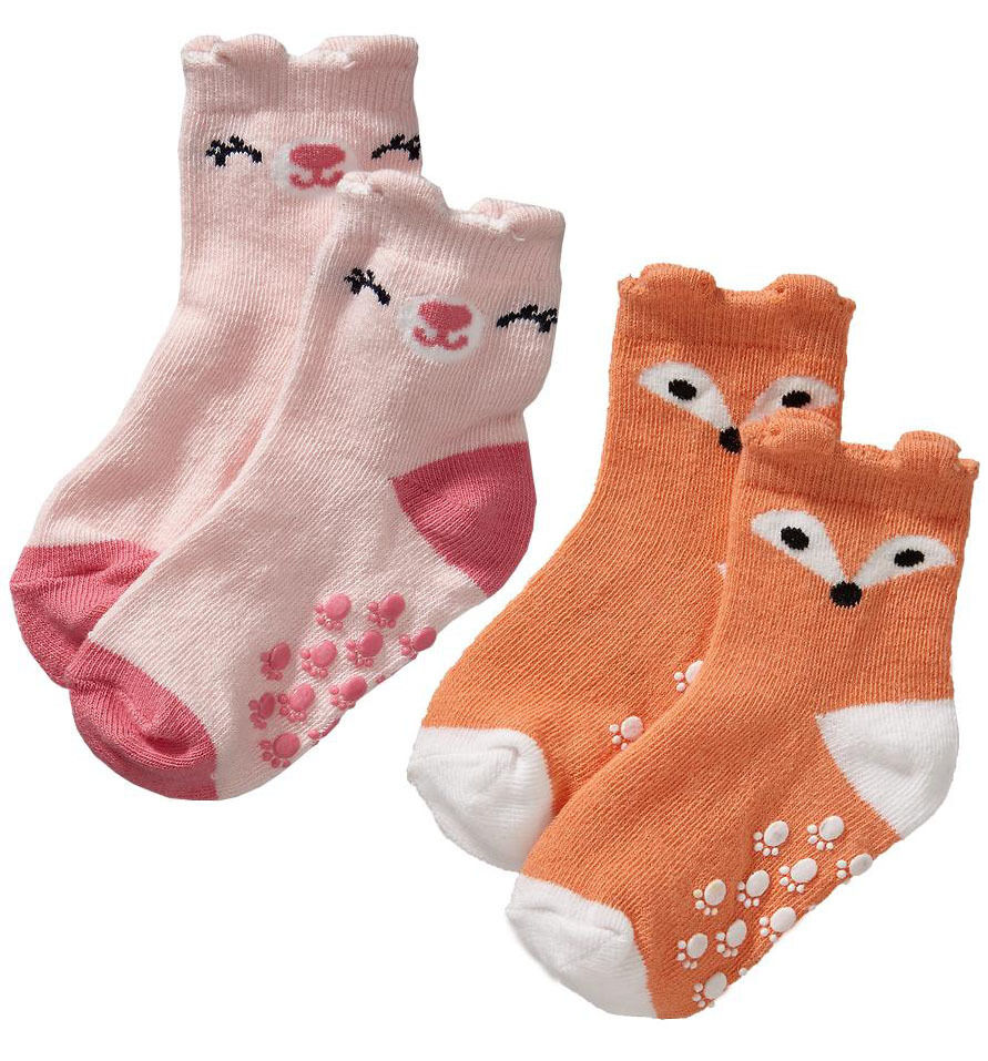 Old Navy Baby Girl Animal orange Fox Pink Bear Socks 2