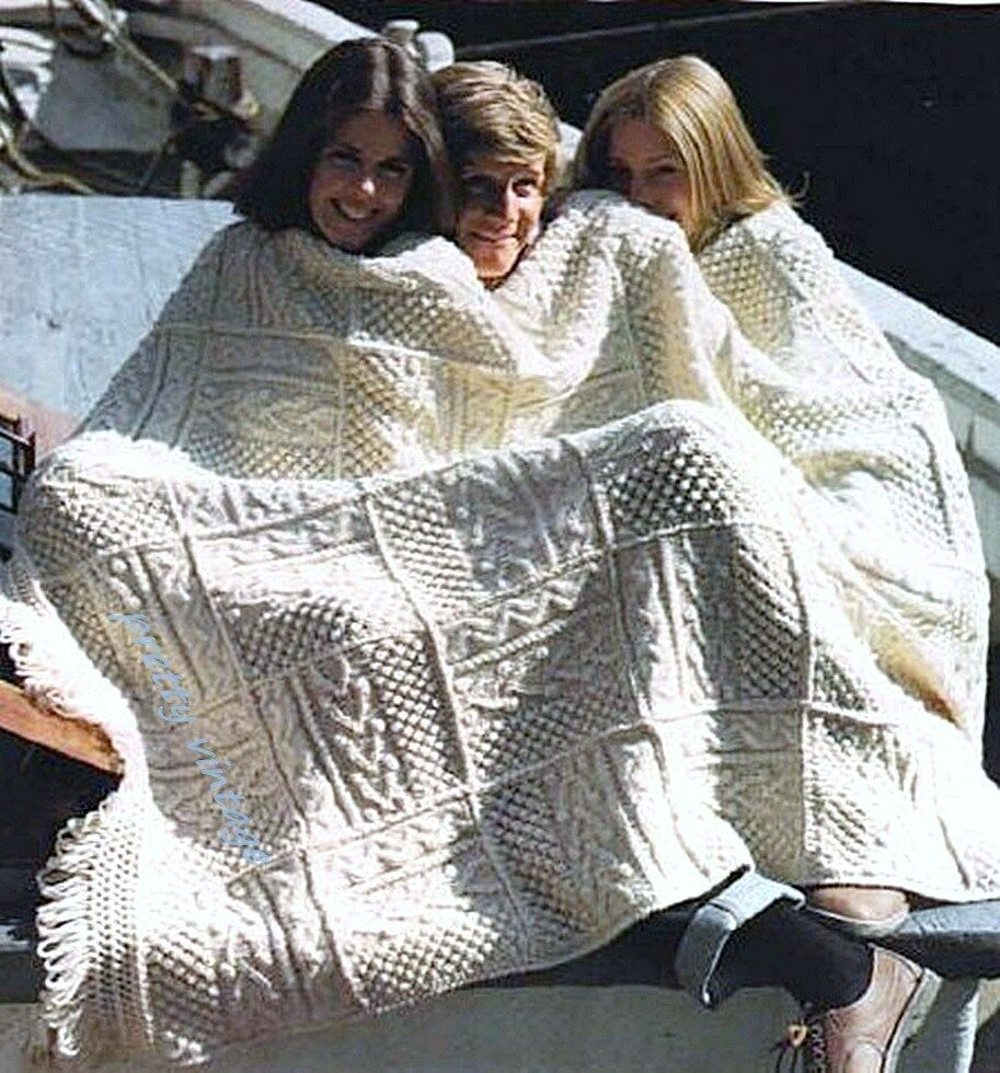 Knitting Pattern Blanket Throw : KNITTING PATTERN ARAN VINTAGE PATCHWORK BLANKET BEDSPREAD ...