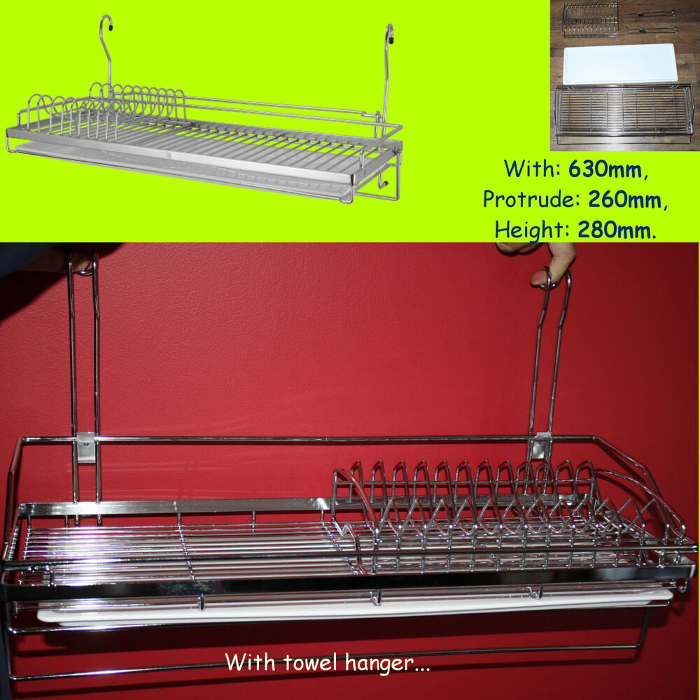 dish drainer rack chrome for hanging rail cutlery plates cup glass dryer cwj228b ebay. Black Bedroom Furniture Sets. Home Design Ideas