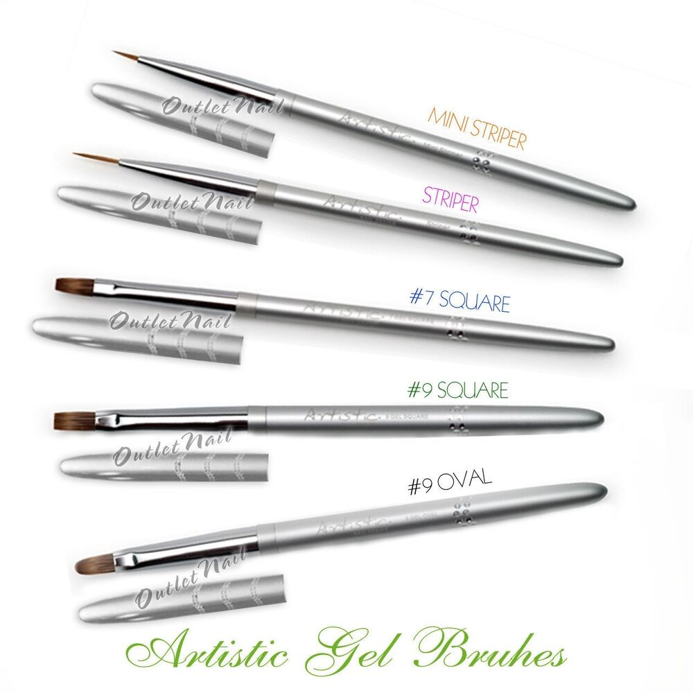 Brush On Nail Gel: Artistic Nail Design ACG Gel Brushes Tools OVAL, SQUARE