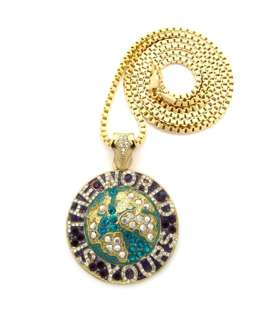 New Iced Out The World Is Yours Pendant 3mm 30 Quot Box Chain