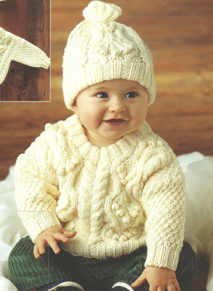 Baby Knitting Pattern Aran Sweater and Hat 18-22