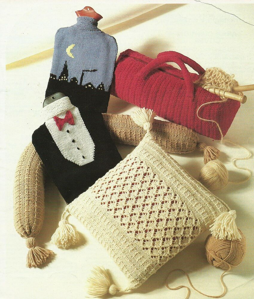 Knitting Pattern Cushion Hot Water Bottle Draught Excluder