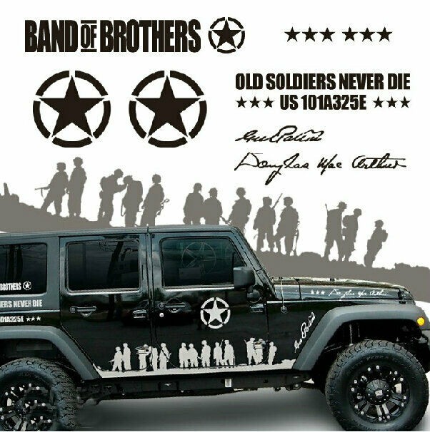 Graphics For Jeep Wrangler: Graphic Vinyl Band Of Brothers Car Sticker U.S. Army Decal