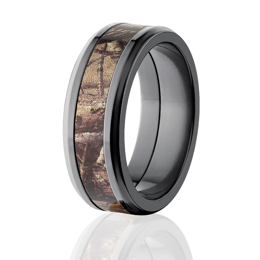 8mm black camo rings realtree ap camouflage rings ebay for Camoflauge wedding rings