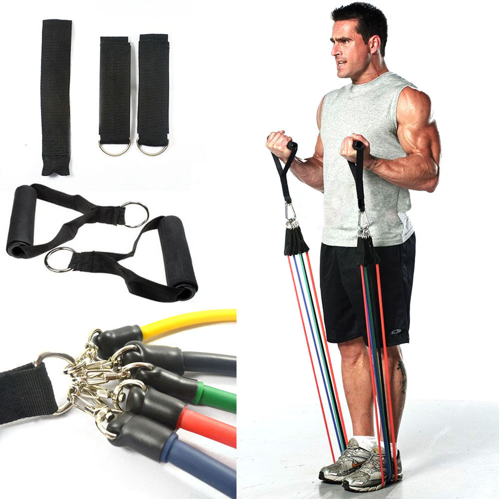 Workout Bands Com: 11PCS Resistance Tubes Set Gym Exercise Workout Fitness