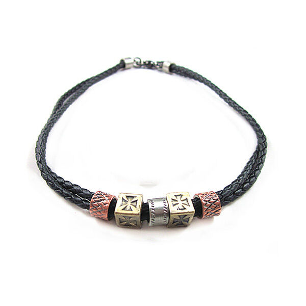 Mens New Charm Punk Braided Leather Necklace Surfer Metal ...